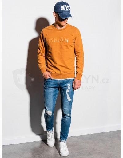 Men's printed sweatshirt B1026 - mustard