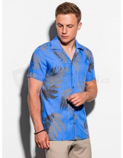 Pánská košile s krátkým rukávem K558 - modrá