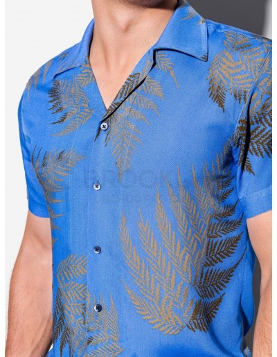 Men's shirt with short sleeves K558 - blue