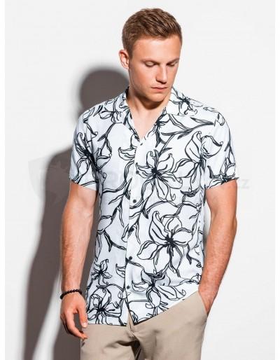 Pánská košile s krátkým rukávem K551 - bílá