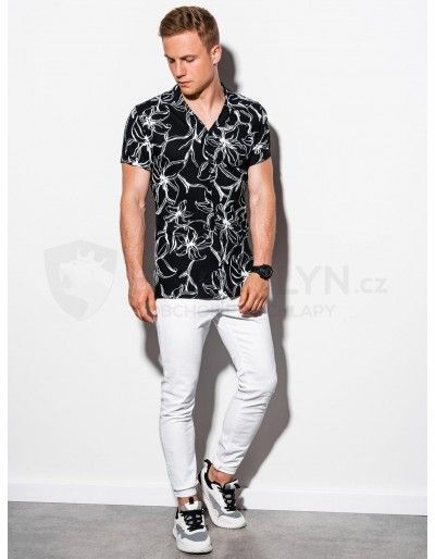 Men's shirt with short sleeves K551 - black