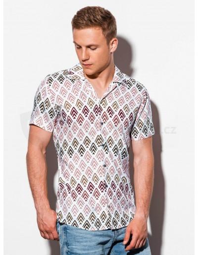 Pánská košile s krátkým rukávem K555 - bílá