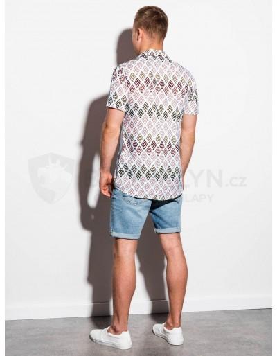 Men's shirt with short sleeves K555 - white