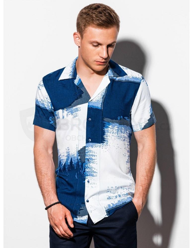 Pánská košile s krátkým rukávem K554 - modrá