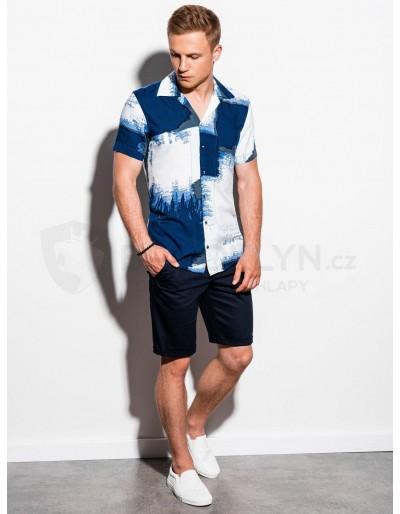 Men's shirt with short sleeves K554 - blue