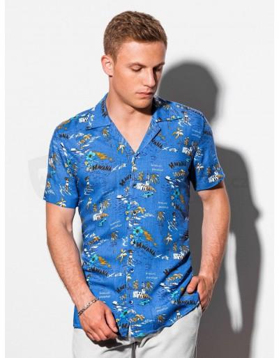 Pánská košile s krátkým rukávem K560 - modrá