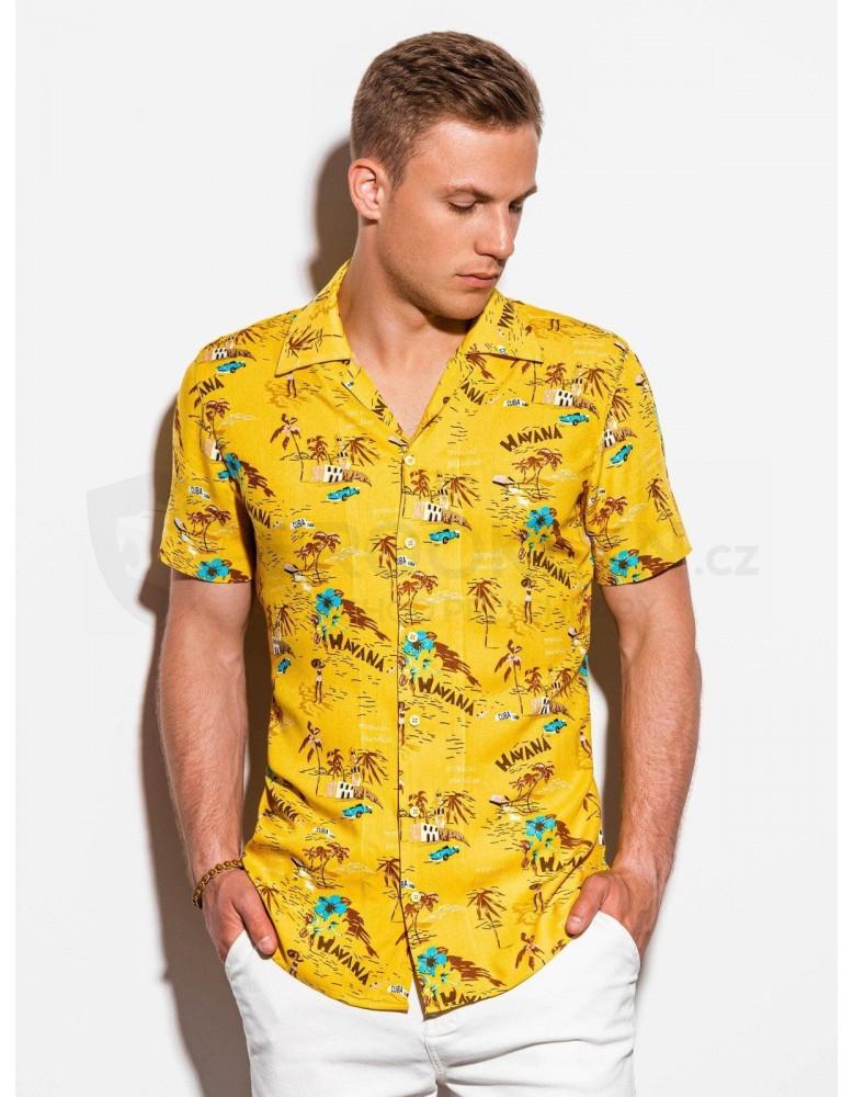 Pánská košile s krátkým rukávem K560 - žlutá