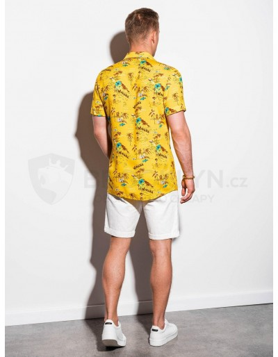 Men's shirt with short sleeves K560 - yellow