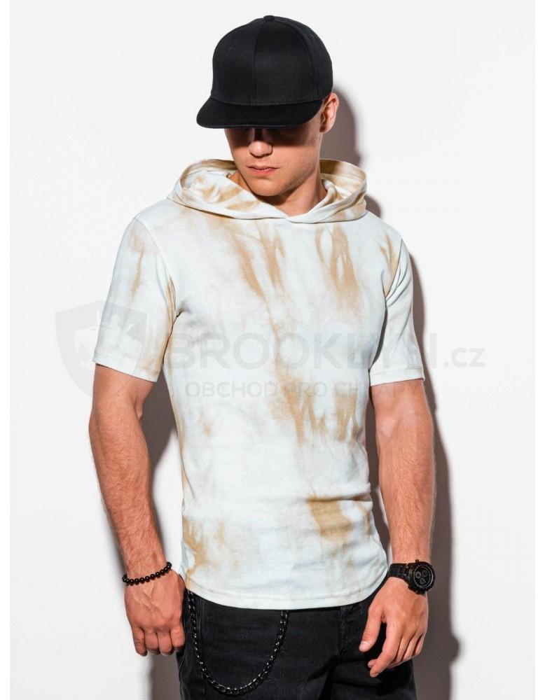 Pánské tričko Tie-Dye s kapucí S1220 - béžové