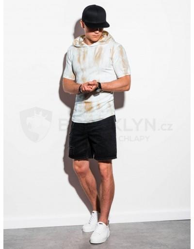 Men's hooded Tie-Dye t-shirt S1220 - beige