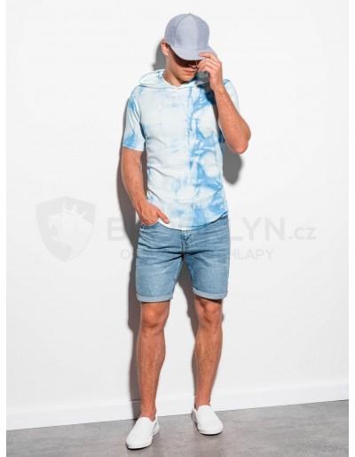 Pánské tričko Tie-Dye s kapucí S1220 - světle modré