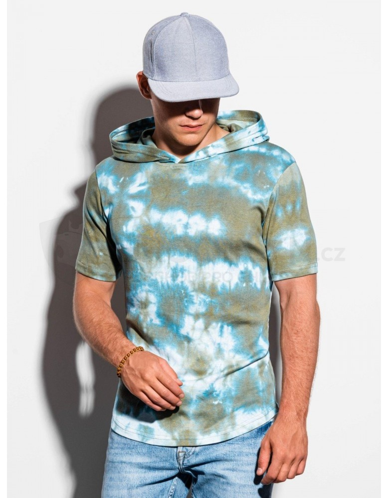 Pánské tričko Tie-Dye s kapucí S1220 - olivové