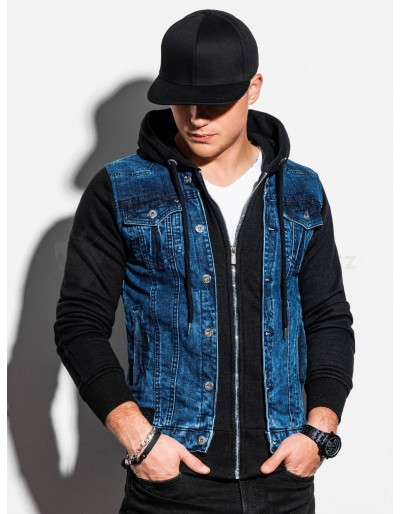 Pánská riflová bunda C322 - džíny / černá