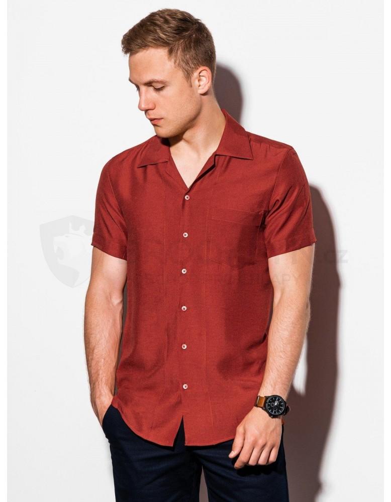 Pánská košile s krátkým rukávem K561 - cihlová