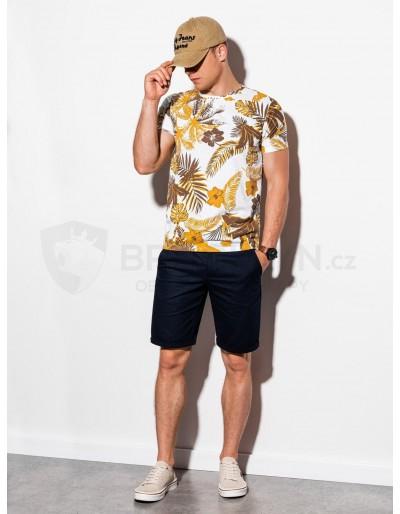 Men's printed t-shirt S1297 - yellow