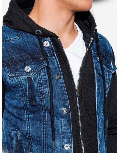 Men's mid-season jeans jacket C322 - jeans/black