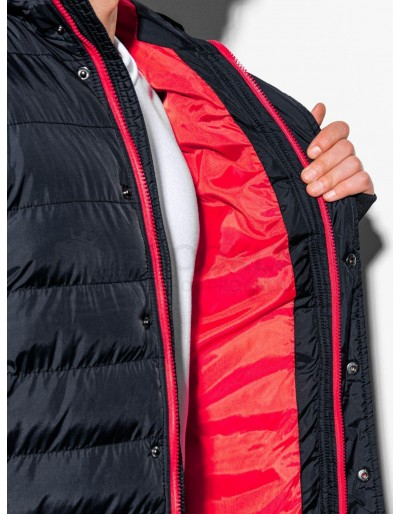 Men's winter quilted jacket C124 - black/red