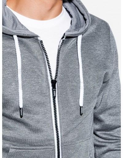 Men's zip-up sweatshirt B977 - grey melange V