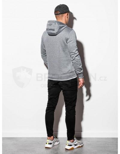 Men's hooded sweatshirt B979 - grey melange V