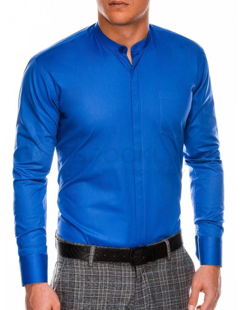 Pánská elegantní košile s dlouhým rukávem K307 - modrá