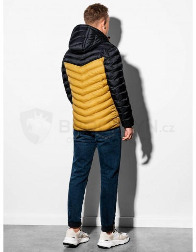 Men's mid-season quilted jacket C366 - yellow