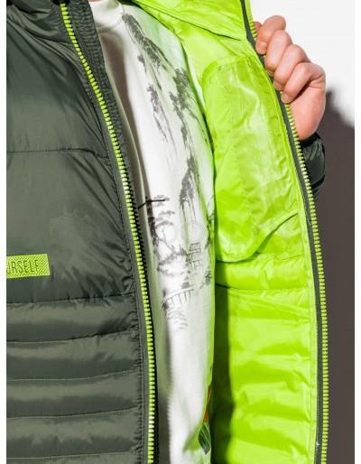 Men's mid-season quilted jacket C372 - khaki