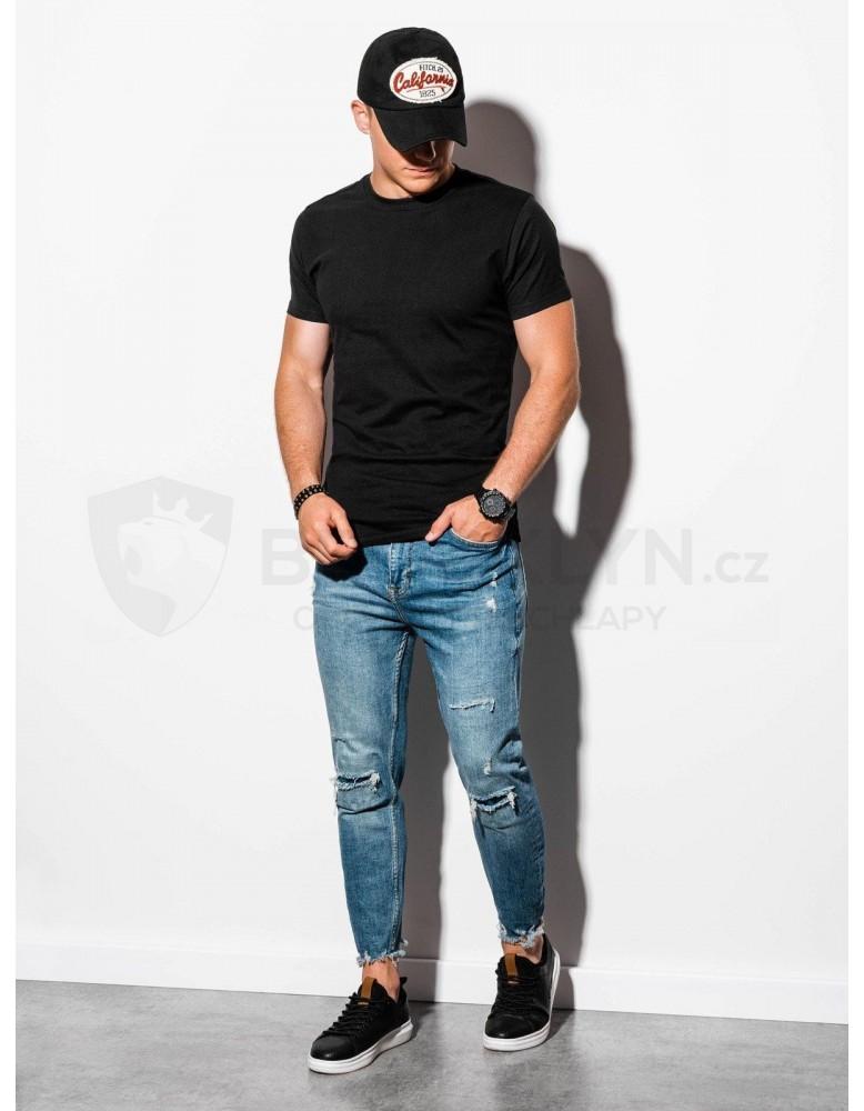 Pánské obyčejné tričko S884 - černé