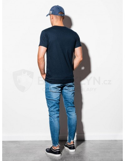Men's plain t-shirt S884 - dark navy