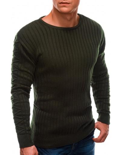 Pánský svetr E201 - tmavě olivový