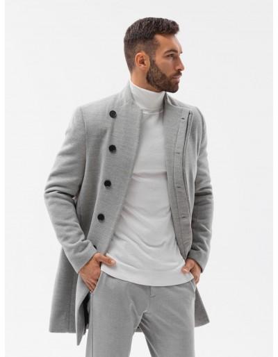 Pánský kabát C501 - šedá melanž