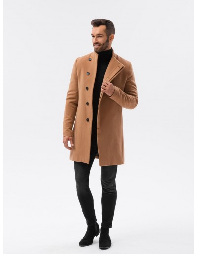Pánský kabát C501 - hnědý