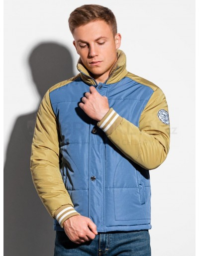 Men's mid-season quilted jacket C448 - blue