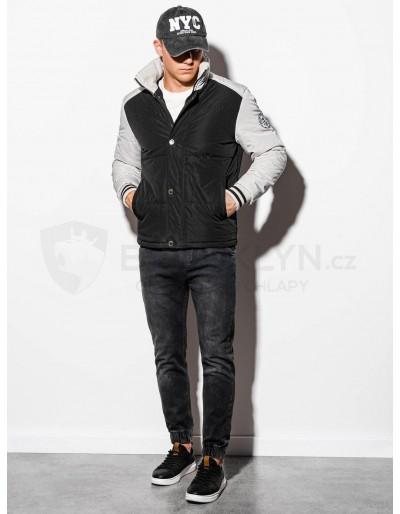 Men's mid-season quilted jacket C448 - black