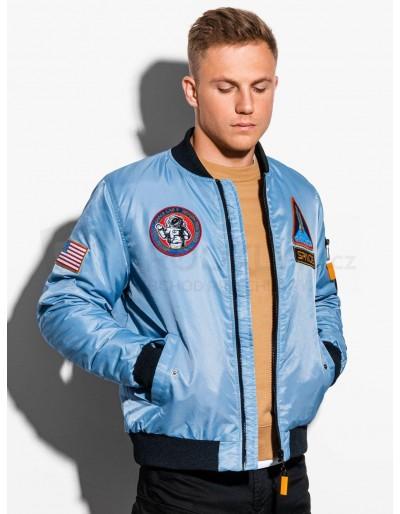 Men's mid-season bomber jacket C351 - light blue