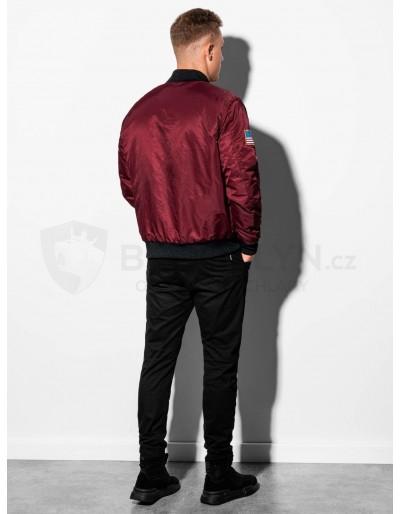 Men's mid-season bomber jacket C351 - dark red