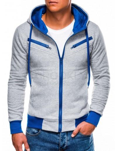 Pánská mikina na zip AMIGO - šedá / modrá