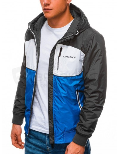 Men's mid-season quilted jacket C447 - blue