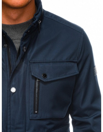 Men's mid-season quilted jacket C444 - dark navy