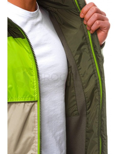Men's mid-season quilted jacket C447 - green