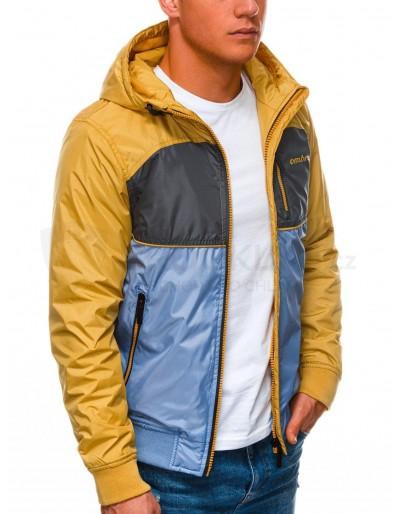 Men's mid-season quilted jacket C447 - light blue