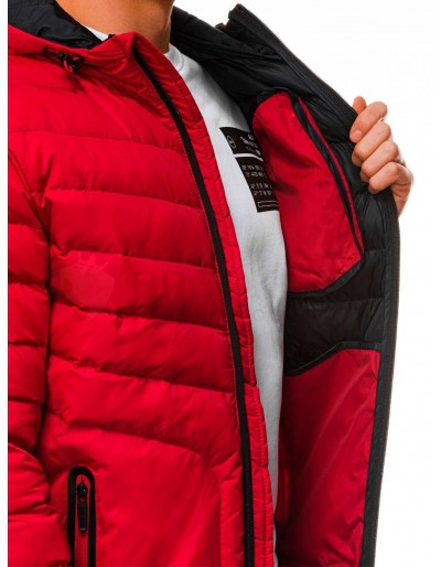 Men's mid-season quilted jacket C356 - red