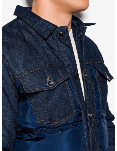 Men's mid-season quilted jacket C446 - navy