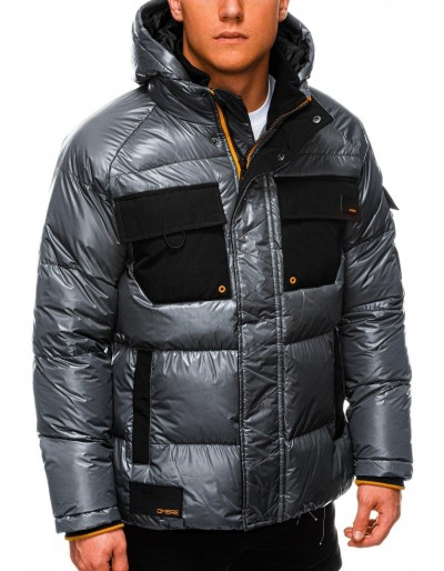 Men's mid-season quilted jacket C457 - dark grey