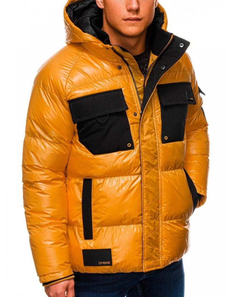 Pánská zimní bunda C457 - žlutá