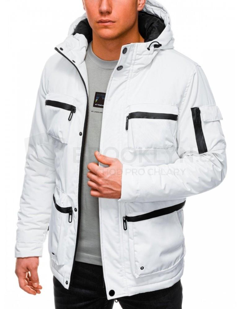 Pánská zimní prošívaná bunda C450 - bílá