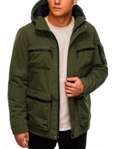 Pánská zimní prošívaná bunda C450 - khaki