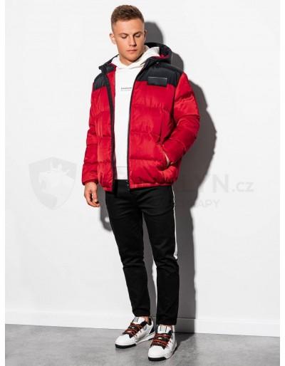 Pánská zimní bunda C458 - červená