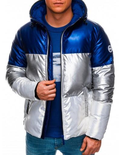 Pánská zimní bunda C459 - modrá