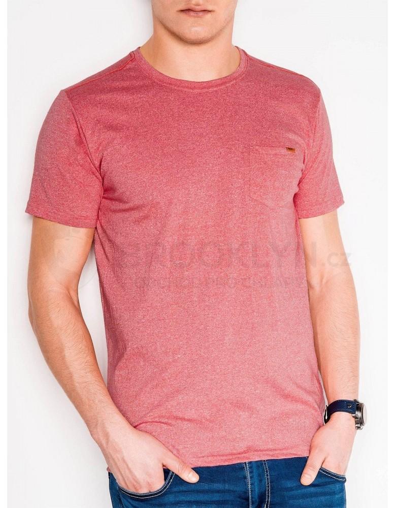 Pánské obyčejné tričko S885 - korálové