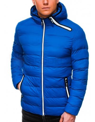 Pánská zimní prošívaná bunda C451 - modrá